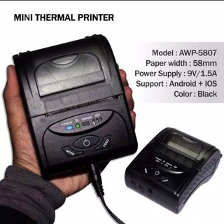 Printer bluetooth thermal android model awp-5807 printer pos mini